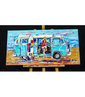 Surfing girl and VW camper