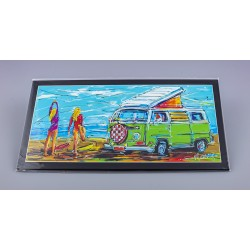 Surfing girls and VW bus