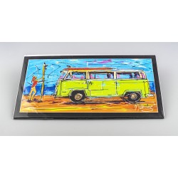 Surfing girl and VW bus