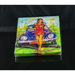 Girl and VW beetle