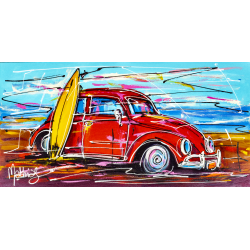 Red beetle surfing